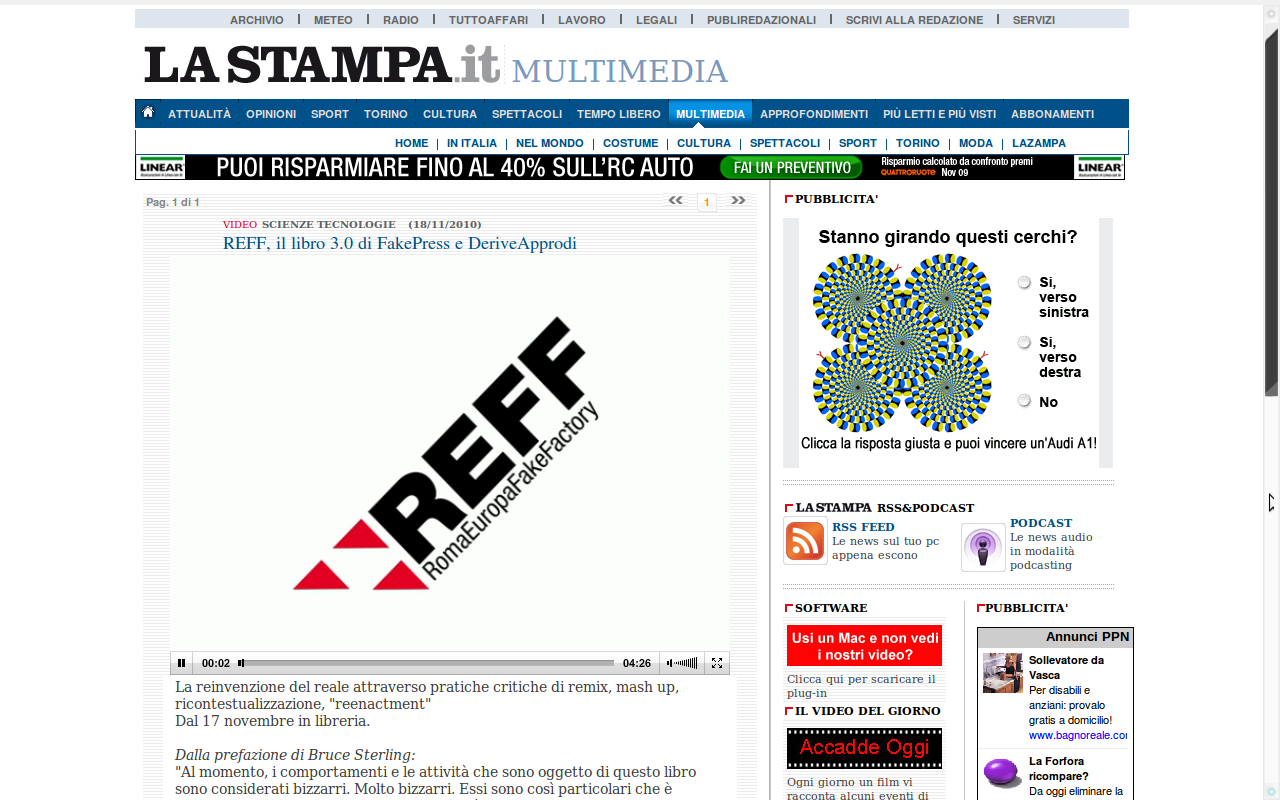 RomaEuropa FakeFactory featured on La Stampa