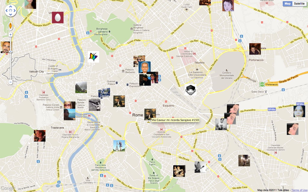 location based realtime infovisualization of the riots in Rome oct15th