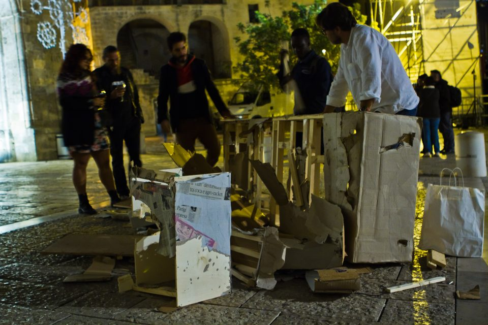 "U-Topia: the ""U"" destroyed after the ""strazzo"", Piazza S. Giovanni (Matera)"