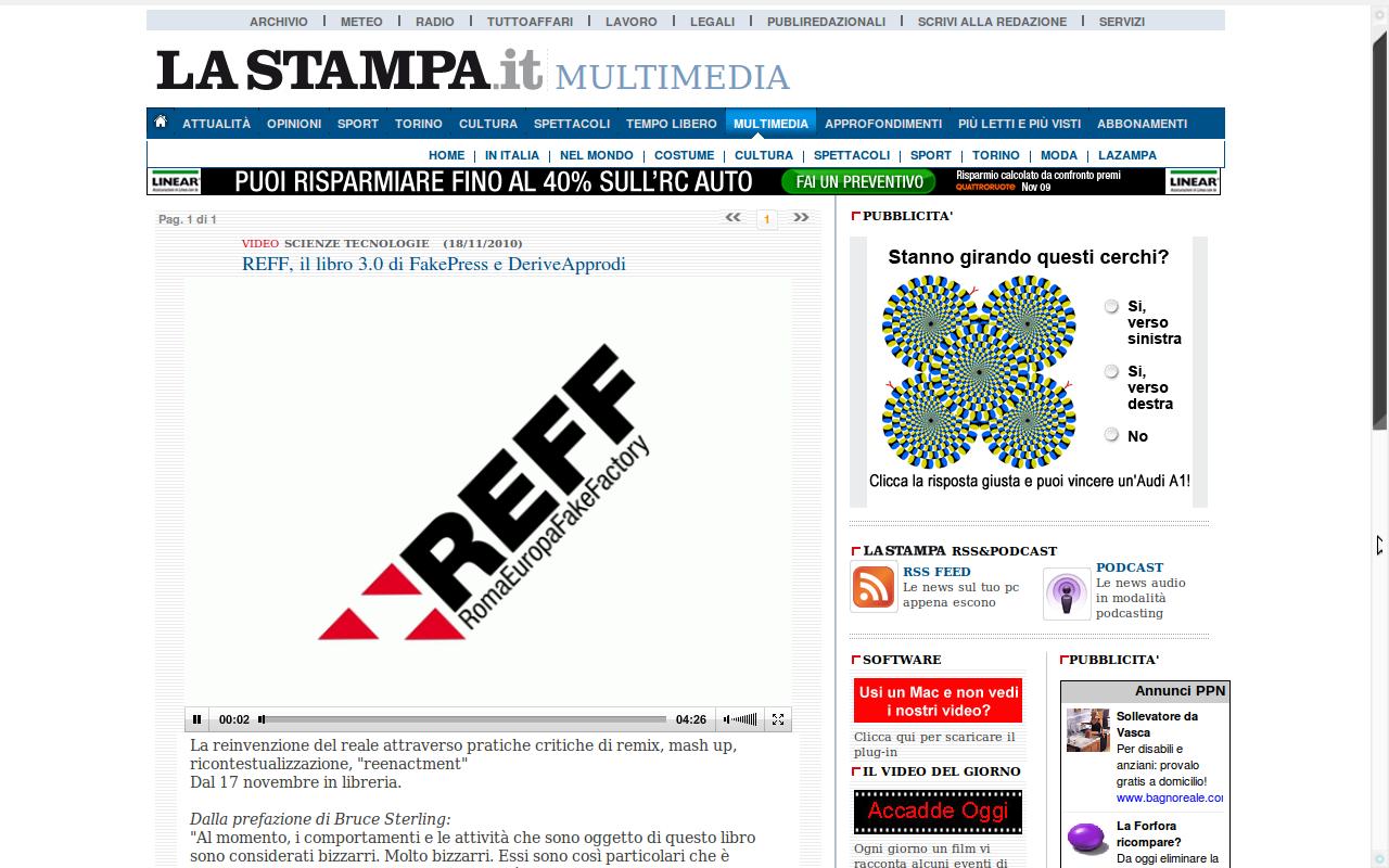 REFF RomaEuropa FakeFactory on La Stampa