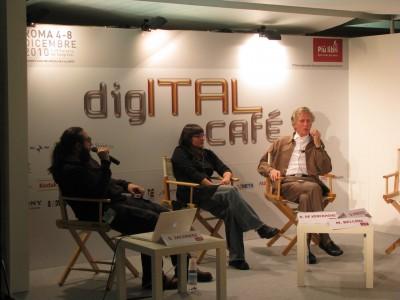 xDxD, penelope.di.pixel and Derrick de Kerckhove at the Digital Cafè