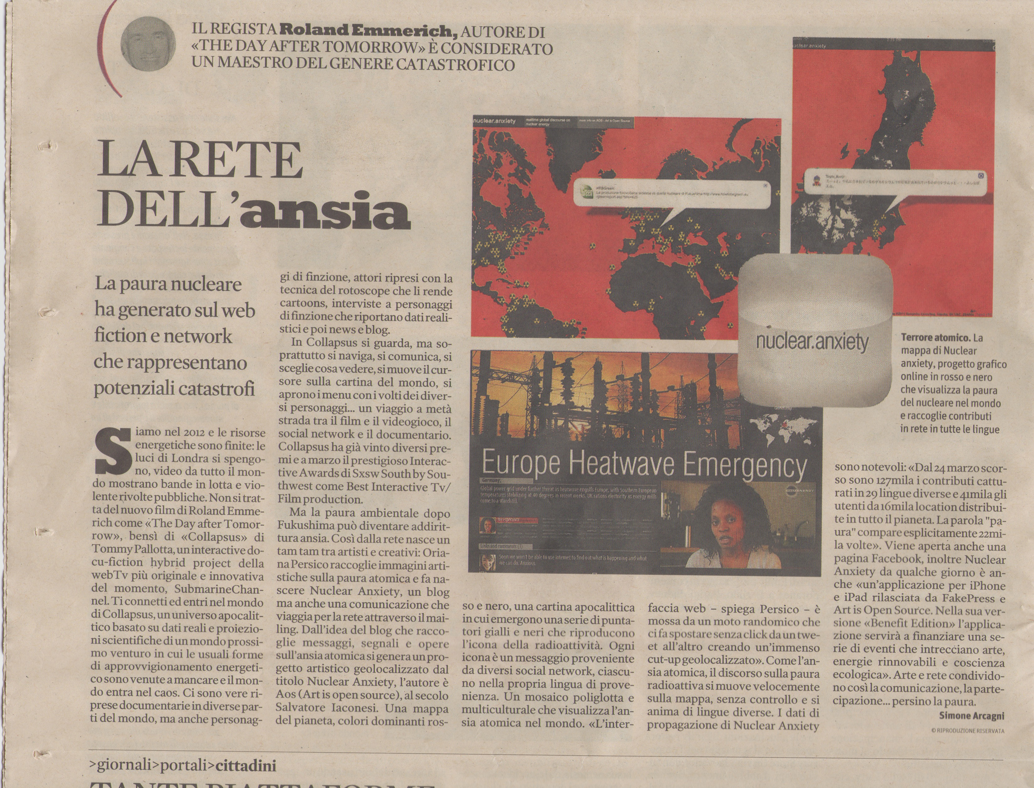 Nuclear Anxiety on Sole 24 Ore - click to download article