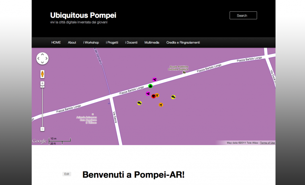 the web interface of Ubiquitous Pompei, with all the prototype content on the map