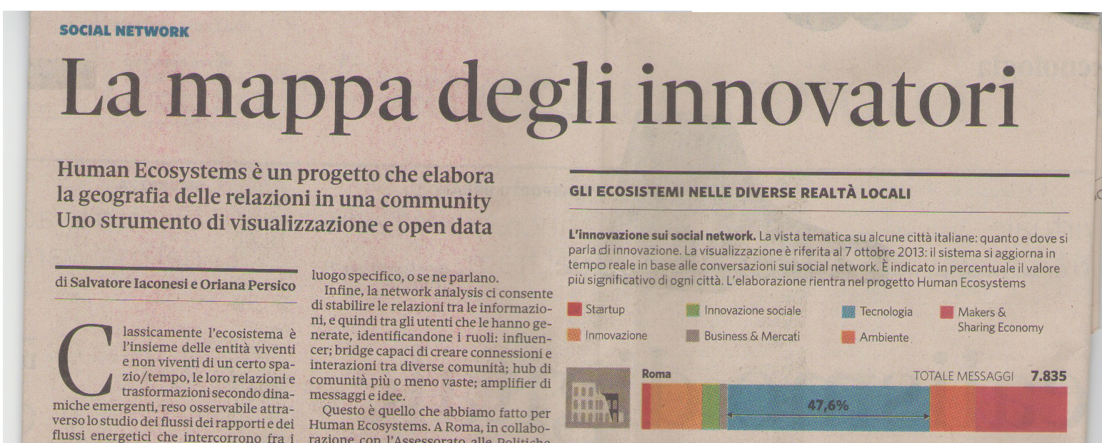 "Human Ecosystems in the news on ""il Sole 24 Ore"""