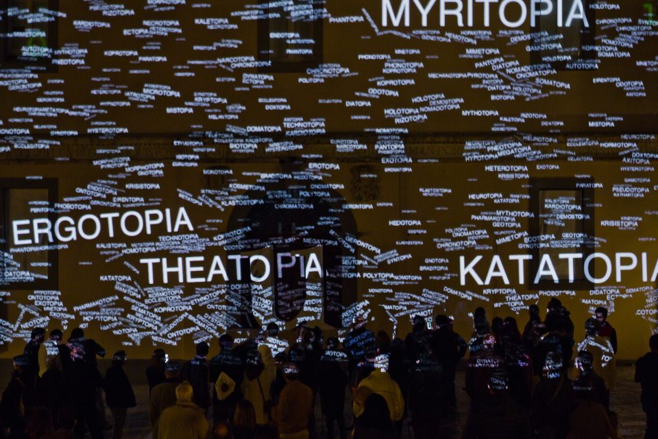 U-Topia, projection mapping, act 2: the constellation of words are crumbling