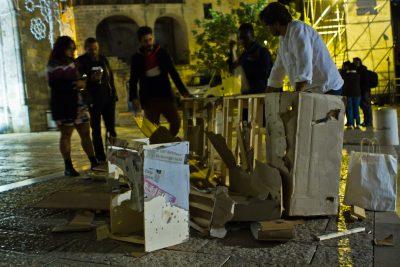 "U-Topia: the ""U"" destroyed after the ""strazzo"", Piazza S. Giovanni (Matera)"